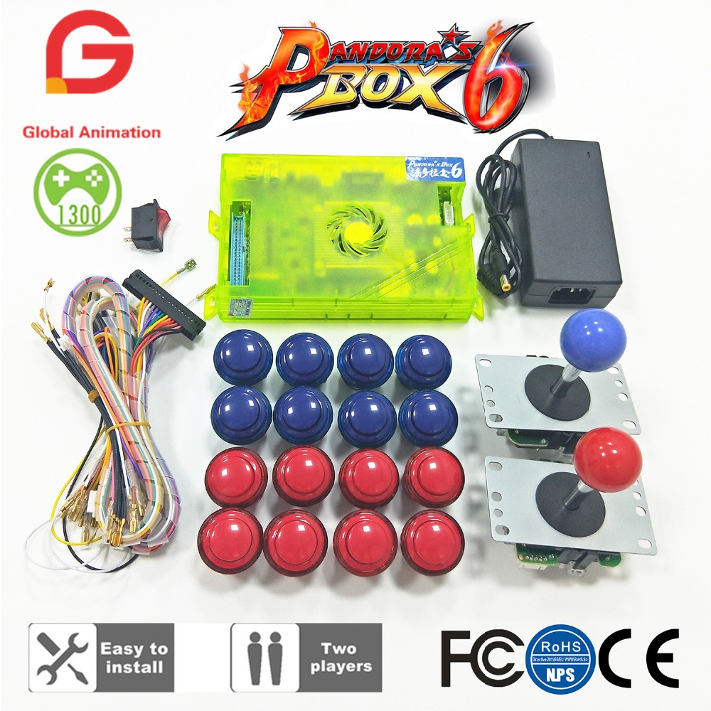 Caixa de Pandora originais 6 s 1300 Jogos Definir DIY Kit De Arcade Push Máquina de Arcade Joysticks Joysticks 2 Buuttons Pacote Casa gabinete