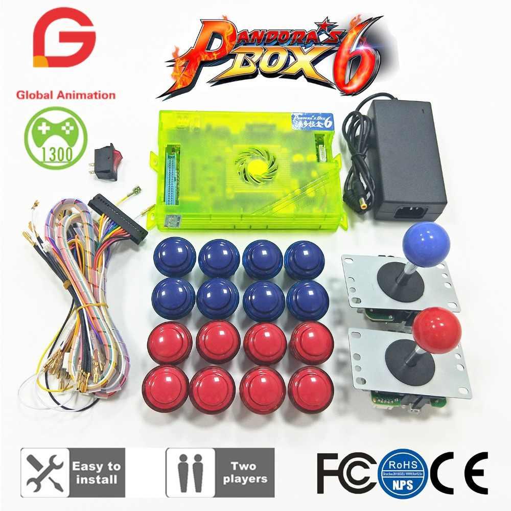 original pandora box 6 1300 games set diy arcade kit push buuttons joysticks arcade machine bundle [ 1000 x 1000 Pixel ]