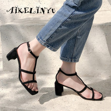 AIKELINYU 2019 Comfortable Square Heel Sandals Explosion Summer Fashion Solid Literary Style Womens Shoes New Hot Sale
