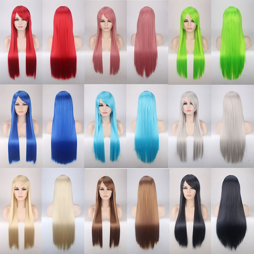 80cm Cheap Straight Long Cosplay Wig With Bangs Synthetic Hair Lolita Red Brown Orange Black Blue Silver White Wigs For Women
