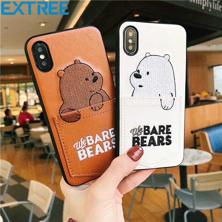 EXTREE luxury Pu Leather Cartoon Bear Phone Case for iPhone 7/6s/8 8plus x 6splus Soft Tpu Cover With Card Pocket Gags Fundas