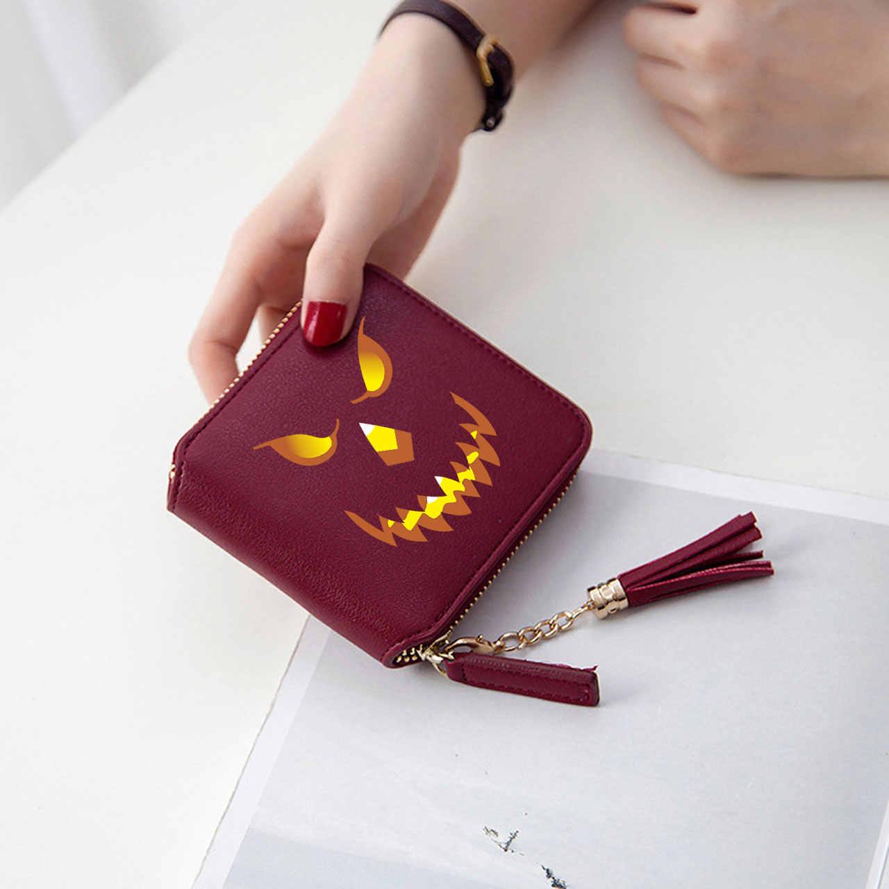 Новая мода Хэллоуин Аниме аксессуары женские кошельки на молнии карты девушки Kpop Кошельки Мини сумки подвески в виде монеток карман