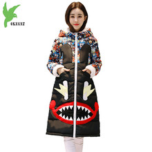 Winter womens Parkas 2018 New cartoon print Cotton jacket Plus size Student hoodies Thick Warm Down cotton Long Coats OKXGNZ1961