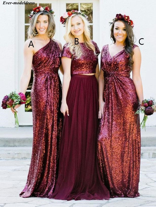 Burgundy   Bridesmaid     Dresses   2019 Sequins Floor Length Zipper Back Cheap Wedding Party   Dresses   Prom   Dresses   Plus Size Customized