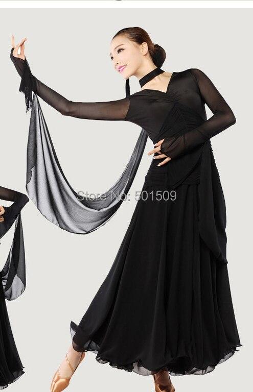 Женские Красный/Черный Длинные рукава современные Танцы платье бальное танго платье/Stage Одежда для танцев