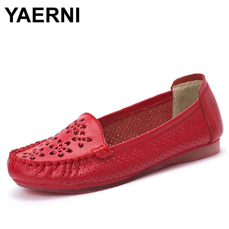 YAERNI  Summer New Hollow Shoes Casual Loafers Soft and Comfortable Mother Oxfords 5 Colors Moccasins Zapatos Mujer men leather shoes casual oxfords luxury brand loafers soft and comfortable moccasins non slip new arrival driving shoes hot sale