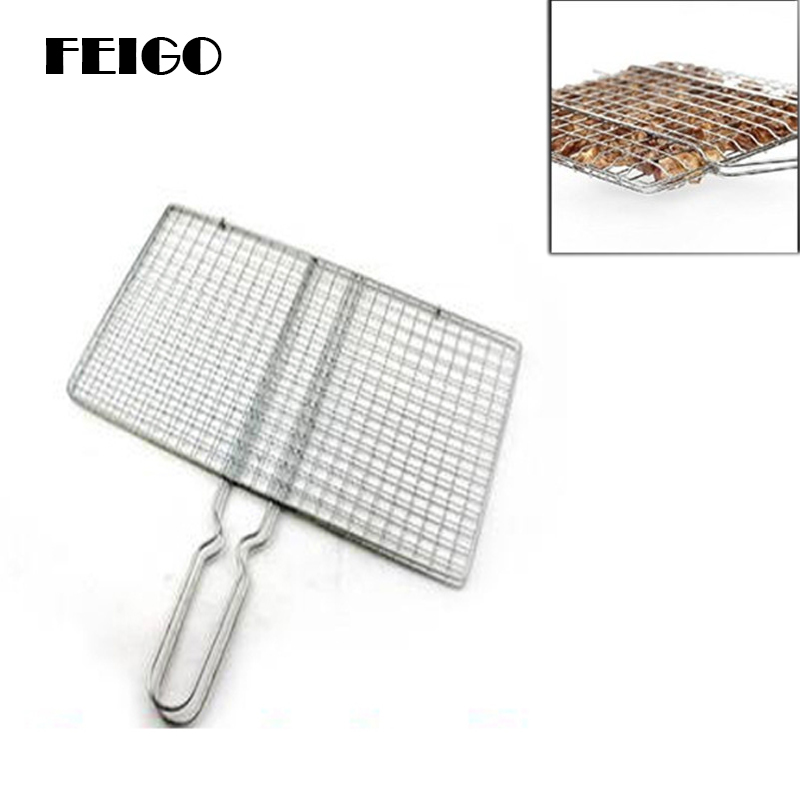 FEIGO 1Pc Stainless Grilling Meshes Clip Meat Fish Vegetable Grill Net Tool For Outdoor BBQ Party Handle BBQ Barbecue Tools F404