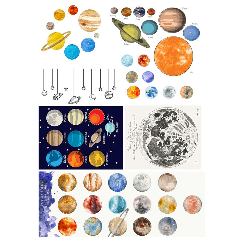 100% Quality 2 Pcs/lot Colourful Moon Planet Decoration Mohamm Planner Diy Sticker Pack Post It Notebook Agenda Toy Stickers Scrapbooking