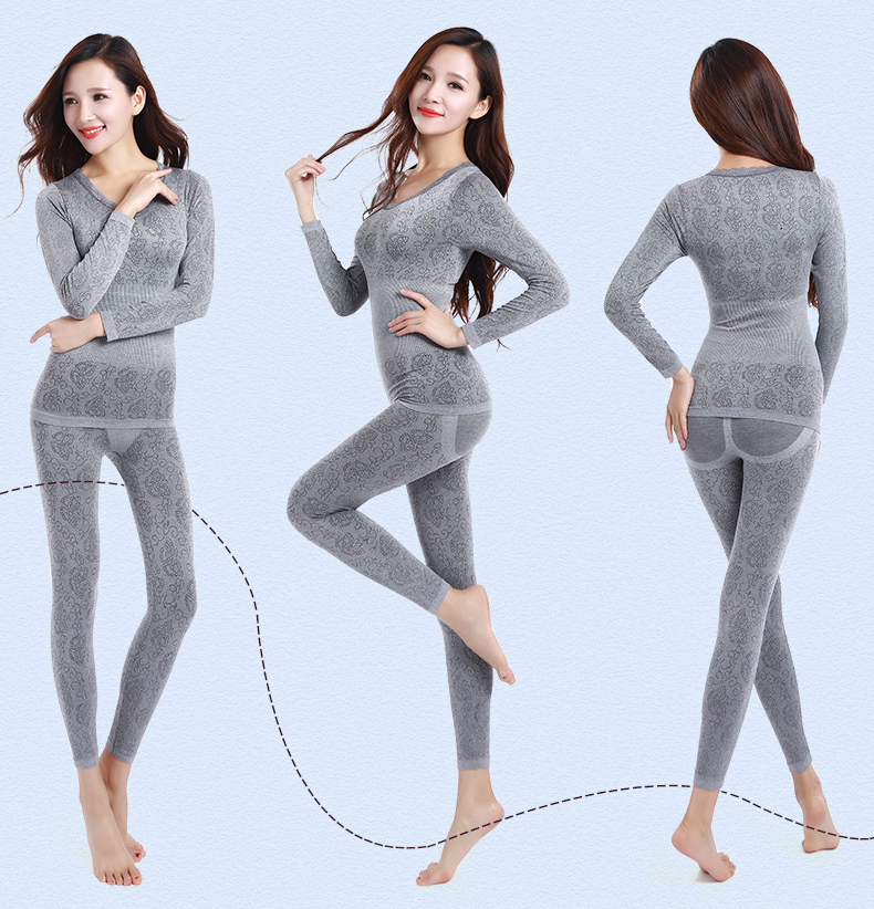 Long Johns Women For Winter Sexy Women Thermal Underwear Suit Women Body Shaped Slim Ladies Intimate Sets Female Pajamas Warm 45