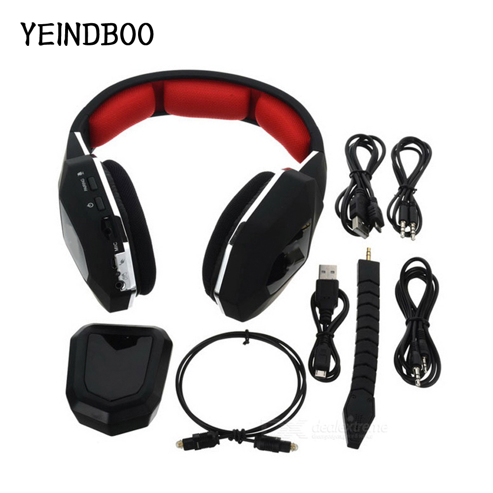 YEINDBOO Wireless Stereo Gaming Headset 2.4GHz Optical Game Headphones with 7.1 Surround Sound for PS4 Xbox One Headset Gamer huhd 2 4ghz fiber optical wireless gaming headphones for xbox 360 xbox one ps4 pc black