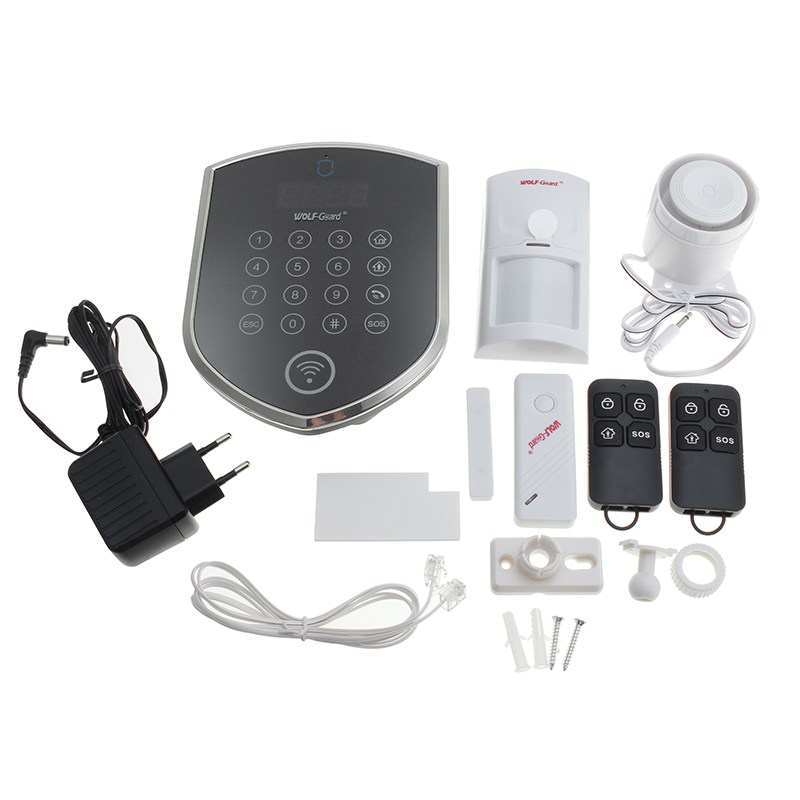 WOLF-Guard Wifi Wireless 433mhz Android IOS APP Remote Control RFID Security Wifi Burglar alarm System With SOS Button wireless pager system 433 92mhz wireless restaurant table buzzer with monitor and watch receiver 3 display 42 call button