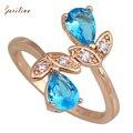 Anéis de Ouro das mulheres Banhado Azul cristal Anel Anéis para as mulheres Da Moda Jóias tamanho 6 7 8 9 R122