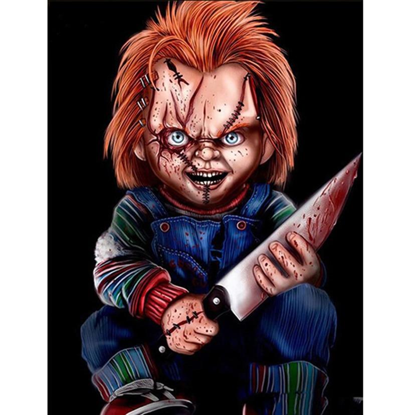 5D DIY Pintura Diamante É personagem do filme de terror Chucky 3D Diamante Bordado Ponto Cruz Needlework Home Decor presente WG1137