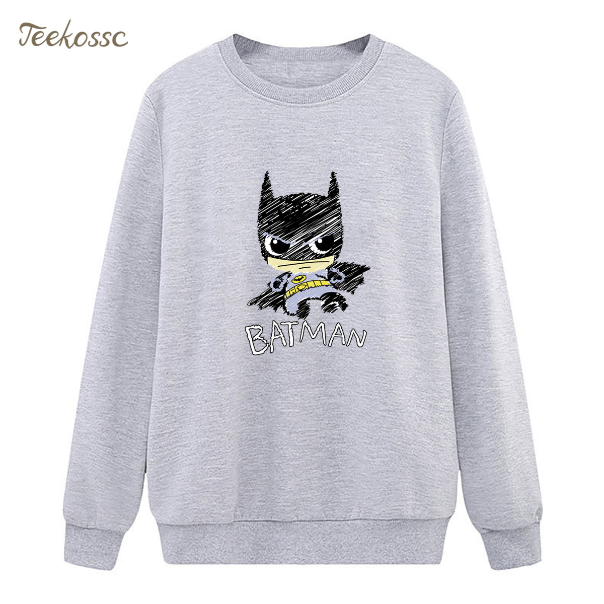 Batman Super Hero Sweatshirt Cool Hoodie 2018 Winter Autumn Women Lasdies Pullover Fleece Loose Cartoon Harajuku Streetwear XXL