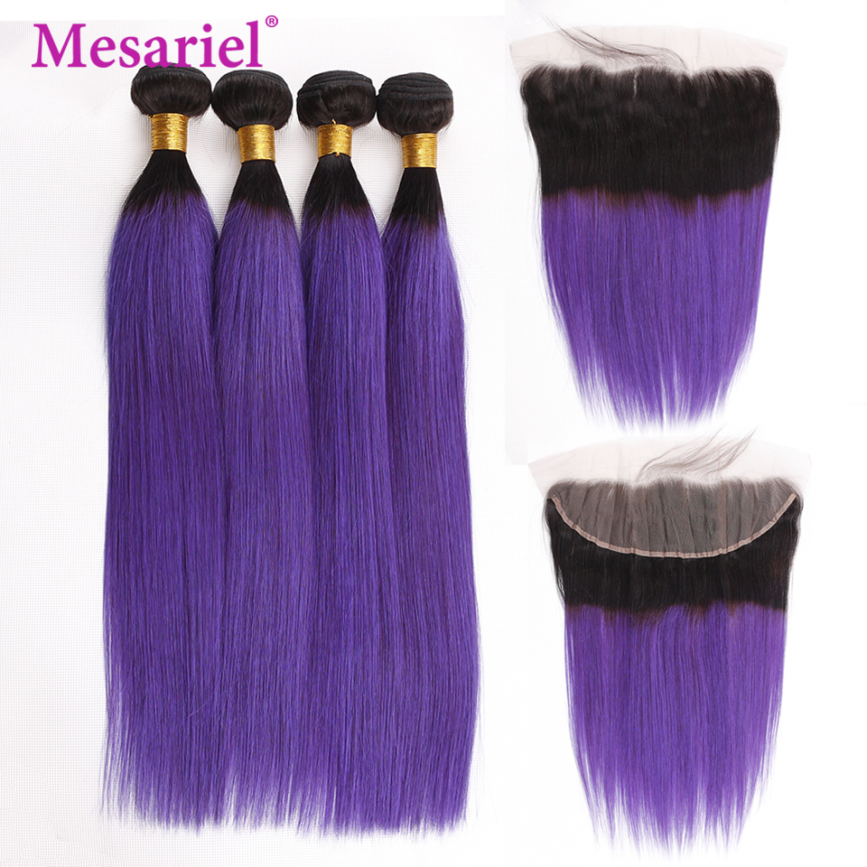 Straightforward Mesariel 1b/purple Ombre 4 Bundles With Frontal 5 Pcs/lot Brazilian Straight Hair Bundles With Frontal Remy Hair Chills And Pains Human Hair Weaves