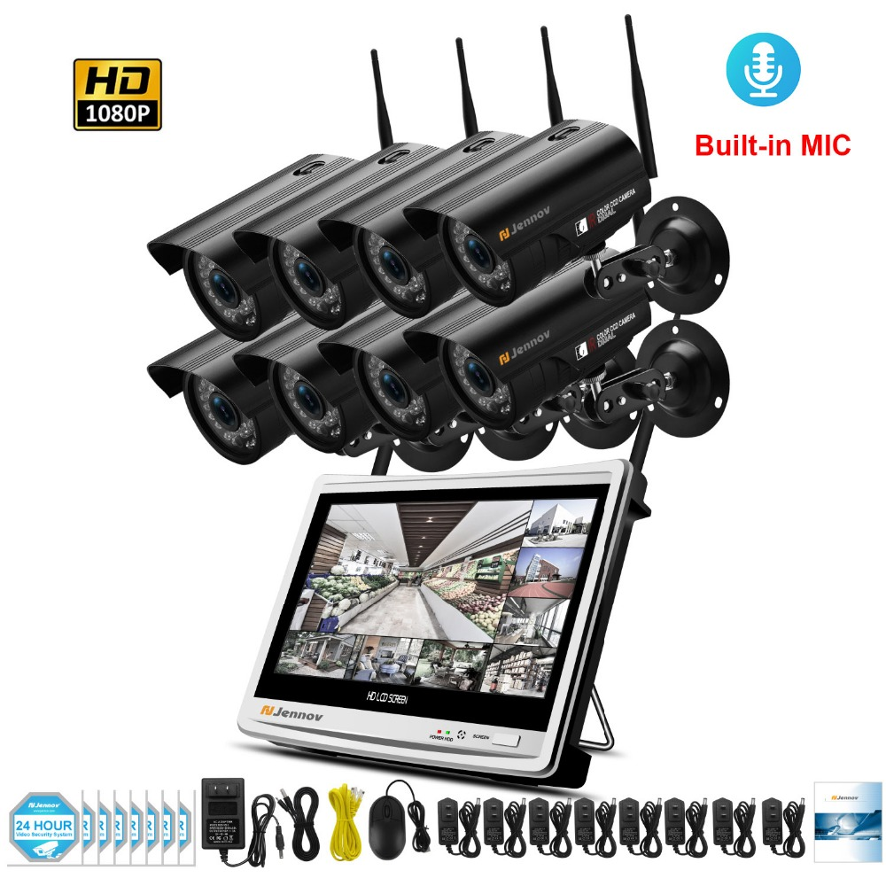 цена на HD 8CH 1080P 2MP Wireless Security CCTV IP Camera System With NVR Wifi Video Audio Record Home Outdoor Surveillance Kits Set
