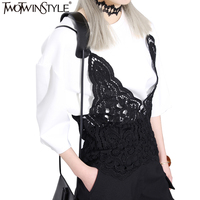 TWOTWINSTYLE 2016 Summer Korean The Solid Color Lace Camis Vest Women