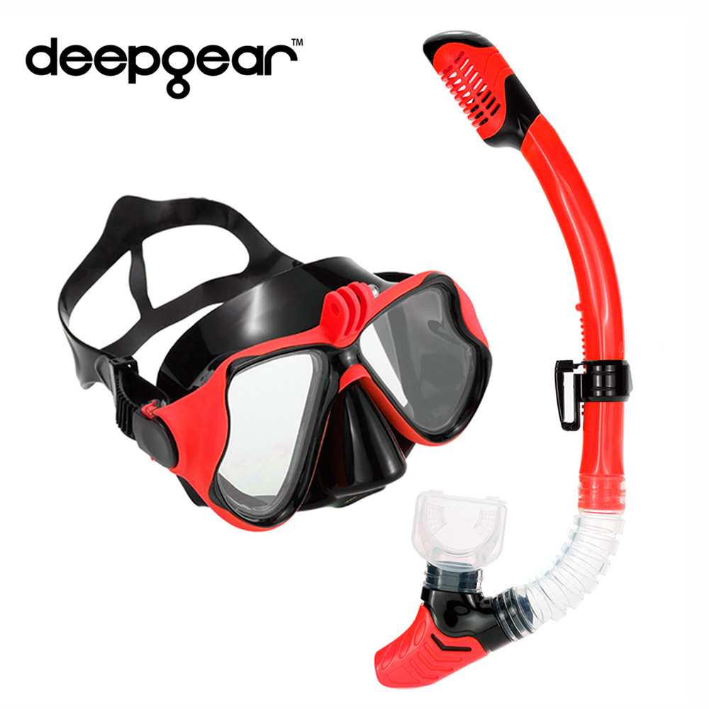 Deepgear diving mask and snorkel set Myopia lens scuba mask to gopro Black silicone diving mask dry snorkel snorkel equipments gull super bullet snorkel for diving scuba