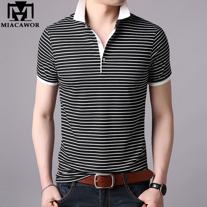 MIACAWOR 2019 New Summer Men   Polo   shirts Fashion Striped Men Short-sleeve Camisas Casual Men Tops Tees T701