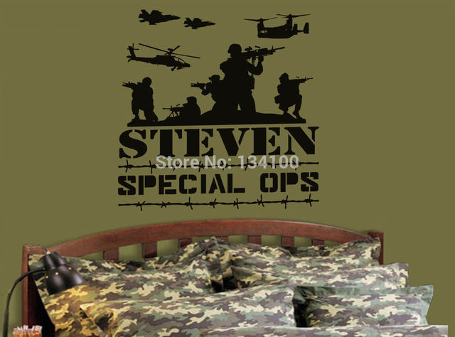 Custom made personalized name special ops army marines navy vinyl wall decal decals for boys