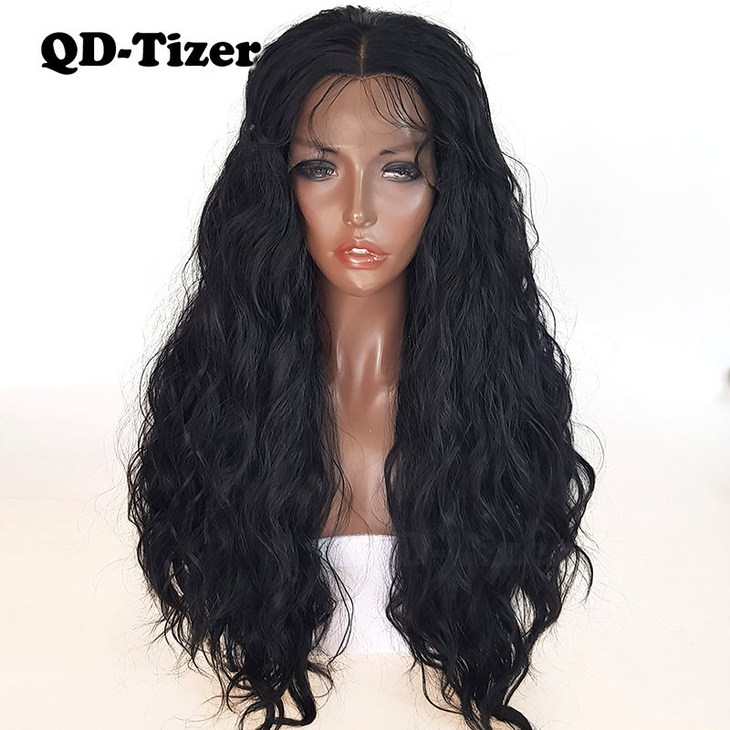 Image 2 - QD Tizer Natural Black Loose Wave Synthetic Front Lace Wig Resistant Hair Full Density  Baby Hair For Black Women-in Synthetic Lace Wigs from Hair Extensions & Wigs