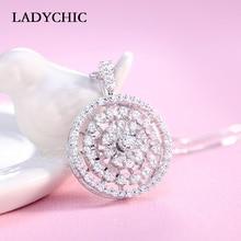 ФОТО ladychic new design 360 degree rotatable zircon pendant necklace for women luxury 3 circles silver color jewelry gift ln1120