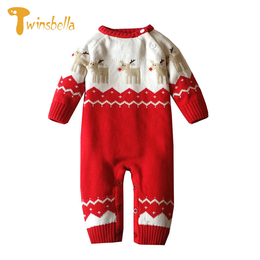 TWINSBELLA Baby Rompers Christmas Newborn Boys Girls Knitted Sweater Winter Thick Climbing Clothes Cartoon Deer Outwear Rompers 2017 baby jumpsuits winter overalls deer kinitted rompers climbing clothes sets for newborn boys girls costumes hooded sweater
