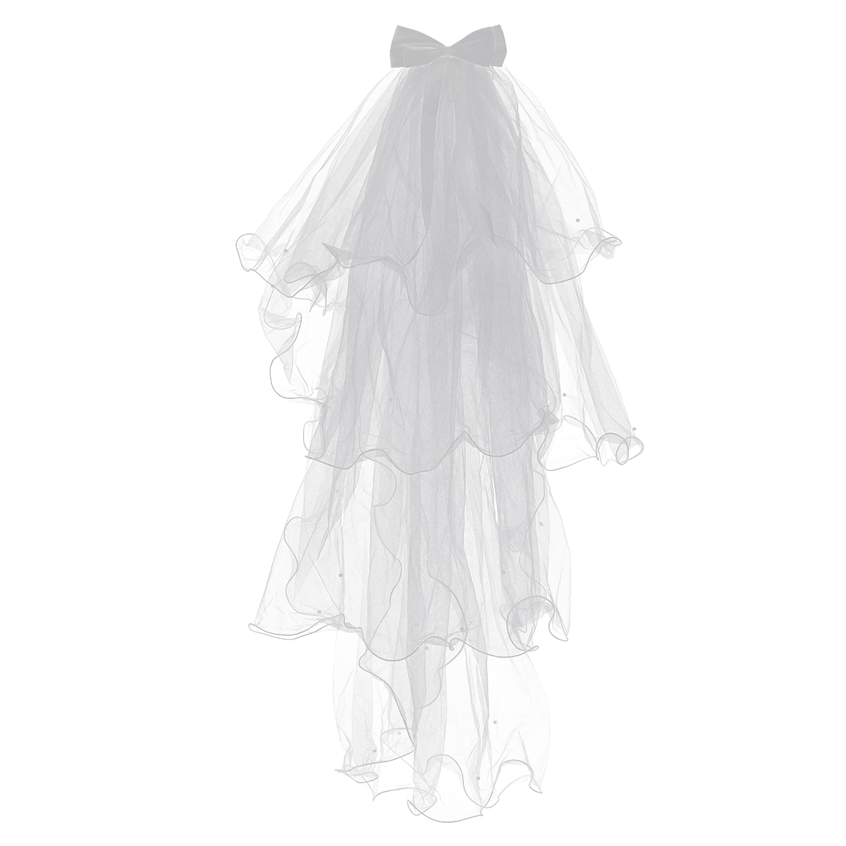 Flower Girl Veils With Bow Four Layers White Wedding Hair Accessories