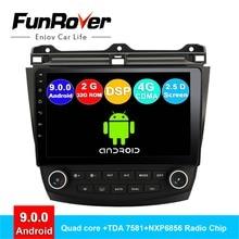 FUNROVER 2.5D android 9,0 автомобильный проигрыватель с радио и GPS dvd для Honda Accord 7 2003-2007 автомобильный dvd мультимедиа навигация 2G ram 32 rom RDS