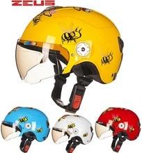 2016 Новый Тайвань ZEUS детские шлемы ABS пол-лица Мотоцикл электрический велосипед шлем Harley стиль ребенок шлемы Би pattern