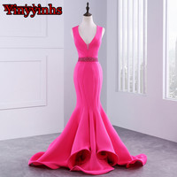 Robe De Soiree 2017 Elegant Mermaid Long Evening Dresses Hot Pink Satin Prom Party Evening Gowns