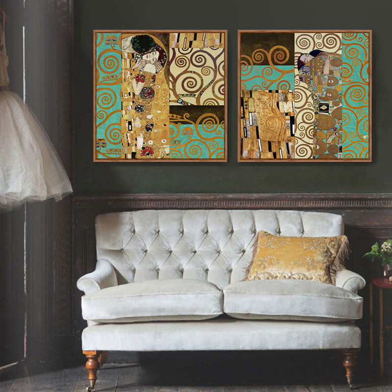 Artists Gustav Klimt The Kiss Wall Pictures For Living Room Canvas Art  Painting Poster Cuadros Decoracion Wall Art Home Decor In Painting U0026  Calligraphy From ...