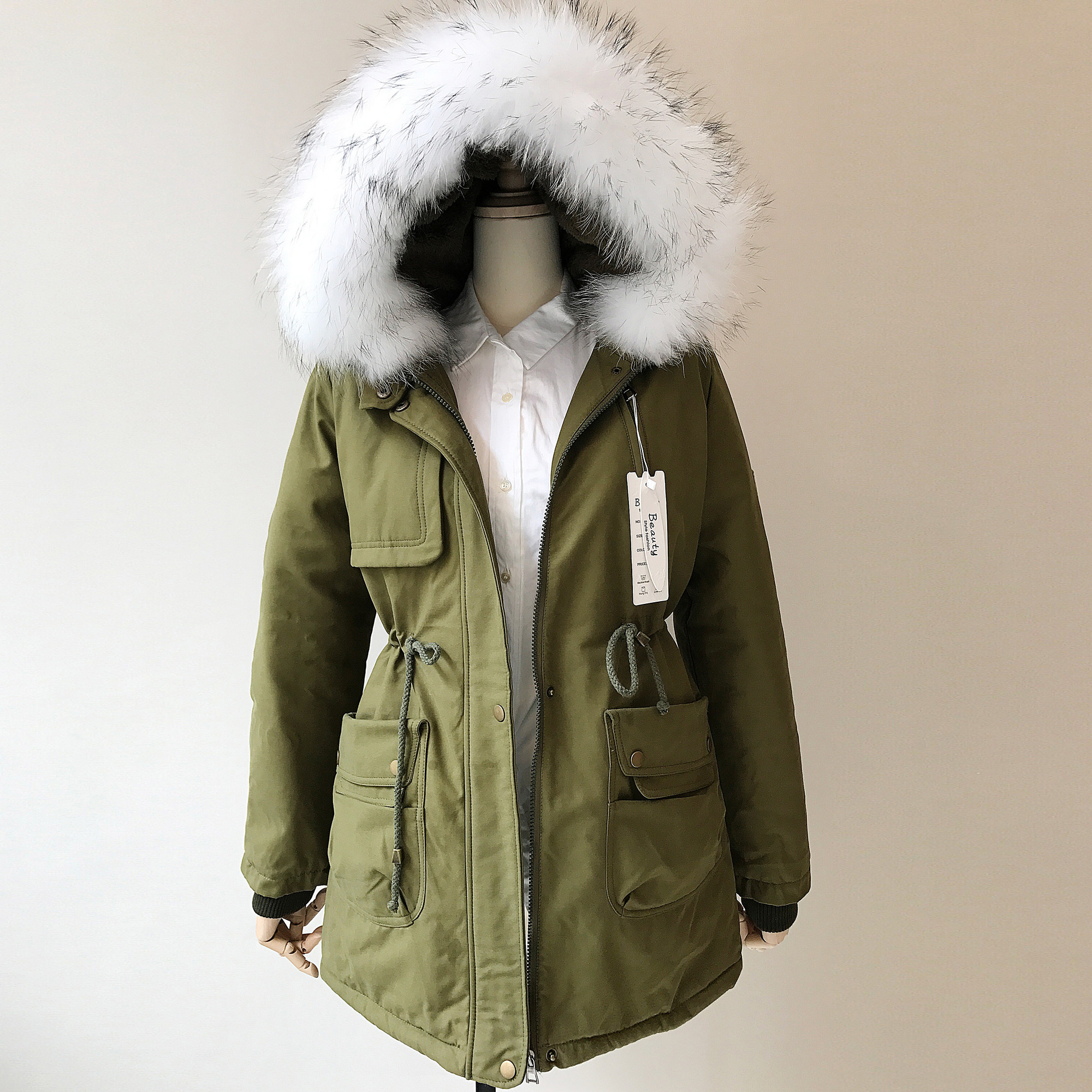 2017 Winter Fashion Women Cotton-padded Jackets Real White Fox Fur Collar Hooded Coat Thick Medium-long Lambswool Wadded Jacket women s clothing real fur collar winter jacket women 2015 new fashion thick winter coat female cotton padded jacket wadded coat