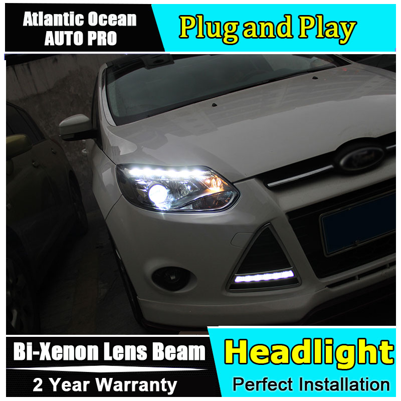 Auto.Pro Car Styling for Ford Focus Headlights ST Style LED Headlight DRL Lens Double Beam HID KIT Xenon bi xenon lens hireno headlamp for 2013 2015 ford kuga escape se headlight headlight assembly led drl angel lens double beam hid xenon 2pcs