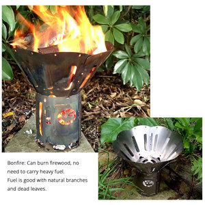 Image 4 - موقد خشب قابل للطي من سبائك التيتانيوم متعدد الوقود للشواء والتخييم في الهواء الطلق الشعلات المحمولة فانوس الكحول نزهة الحطب