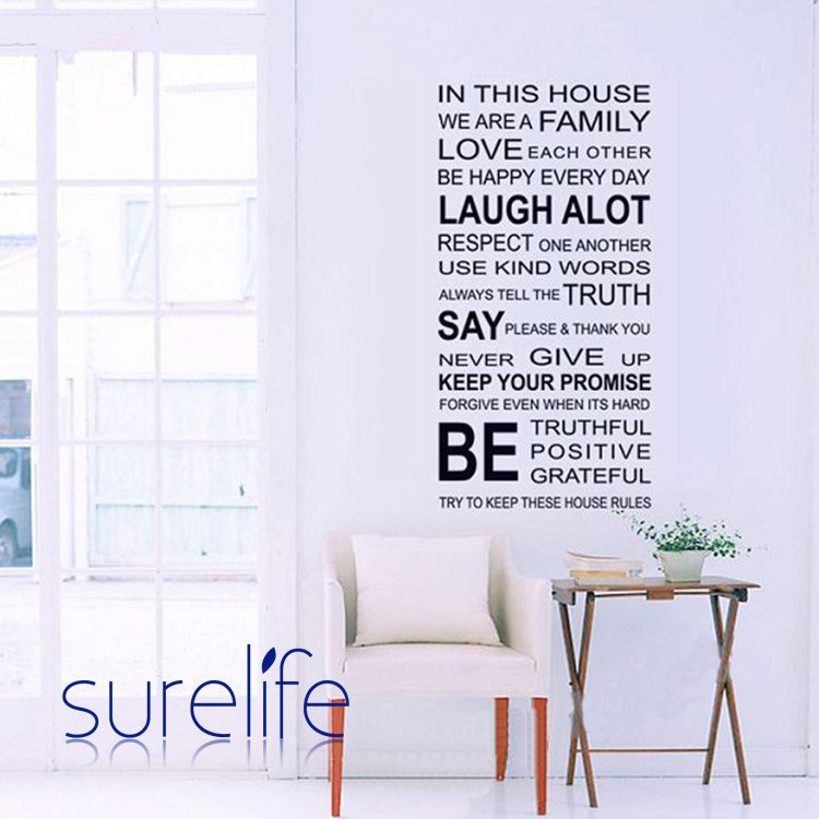 In This House We Are Family Love Each Other...Large Wall Picture For Living  Room Word Art Quote Wall Sticker Size 115*60cm In Wall Stickers From Home  ... Part 67