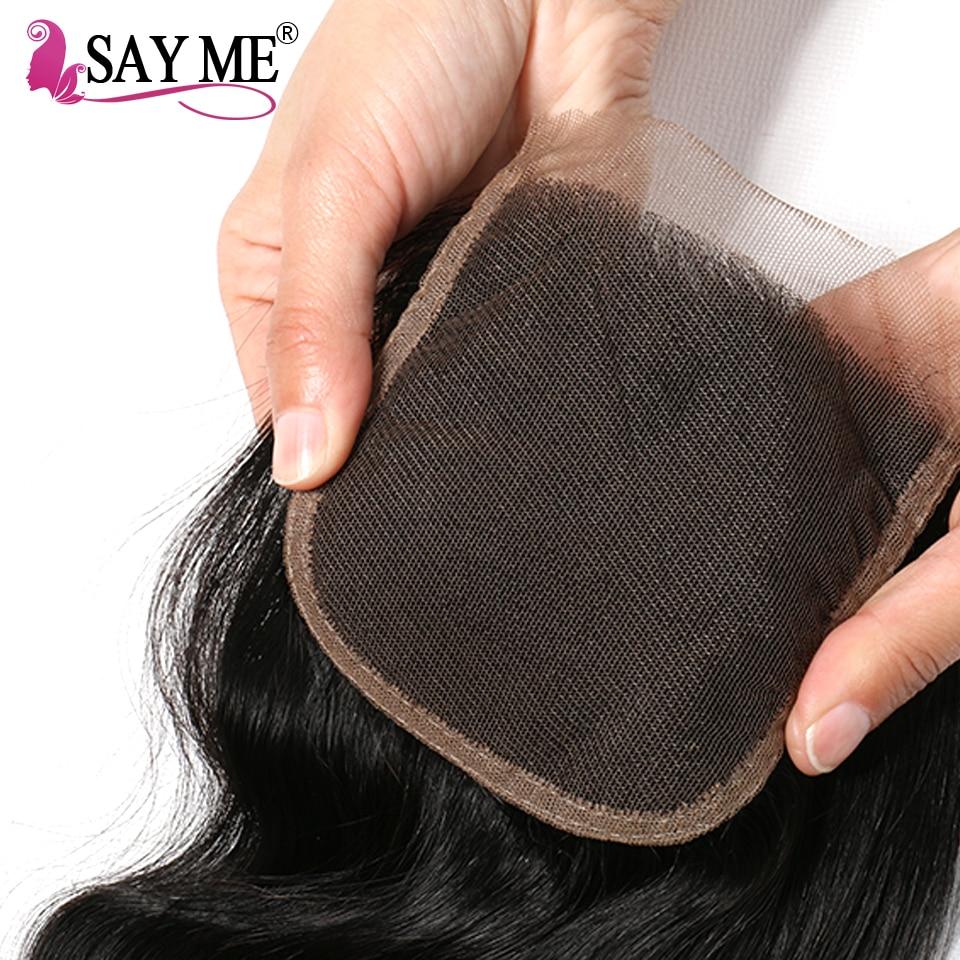 Ombre Vücut Dalga İnsan Saç Paketler Dantel Kapatma Ile Sarışın - İnsan Saçı (Siyah) - Fotoğraf 5