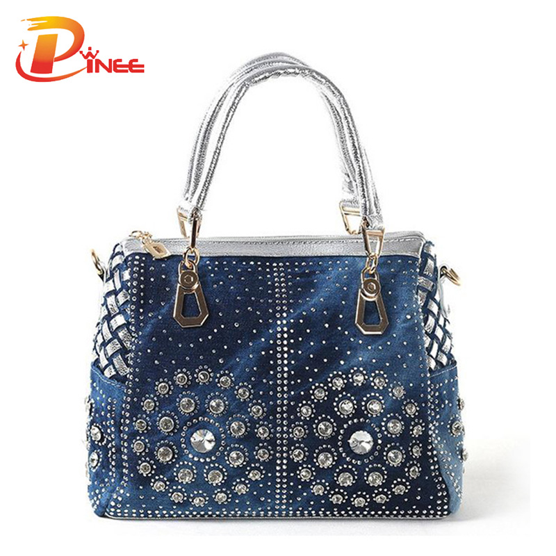 Casual Ladies Tote Bags Designer Crystal Diamond Women Messenger Bags Famous Brand Luxury Handbags Women Bags Free Shipping
