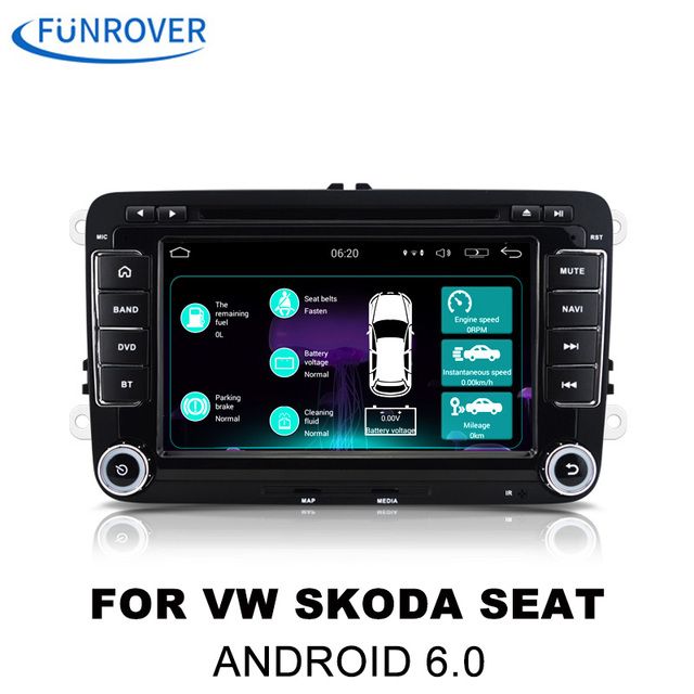 """FUNROVER 7""""2 din android 6.0 Car dvd Stereo Player GPS Navigation In-Dash For VW Volkswagen POLO PASSAT Golf Tiguan Skoda Rapid"""
