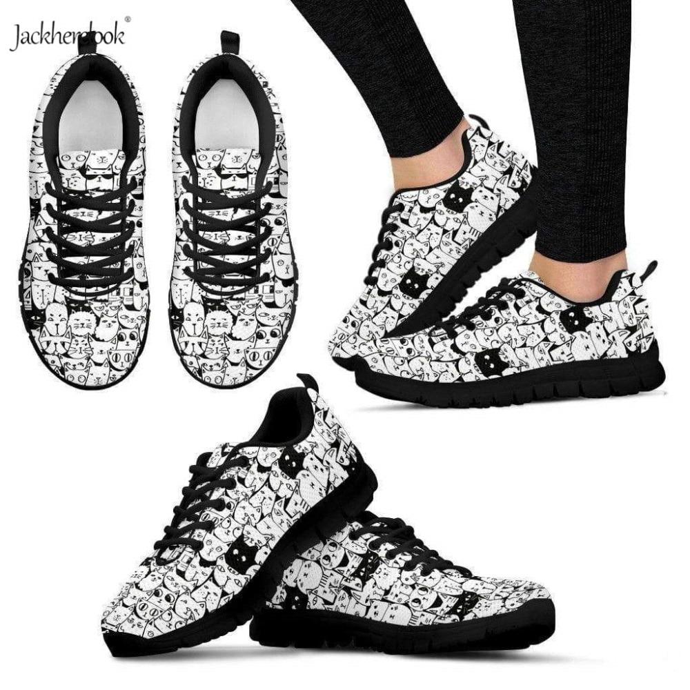 Jackherelook femmes chaussures respirant printemps été vulcanisé chaussures pour femme adorables chats baskets femme plat chaussures décontractées