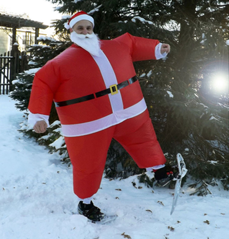 Inflatable Christmas Santa Claus Costume Dress Suit with Wig beard and Hat