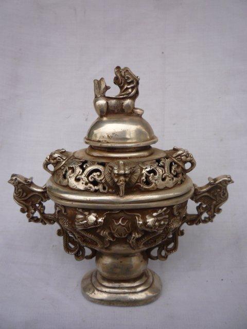 Коллекционная династия Мин(xuan de1426-1438) серебряный дракон ладан \ ценсер, украшение