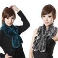 CDS043 2014 winter New Knitted Real Rex Rabbit Fur Scarf Wave Cut Shawl Muffler Wraps Neckerchief