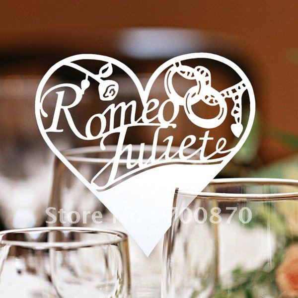 Customized 120pcs Ivory White Wedding Table Place Card Laser Cut Heart Design For Wine Glass