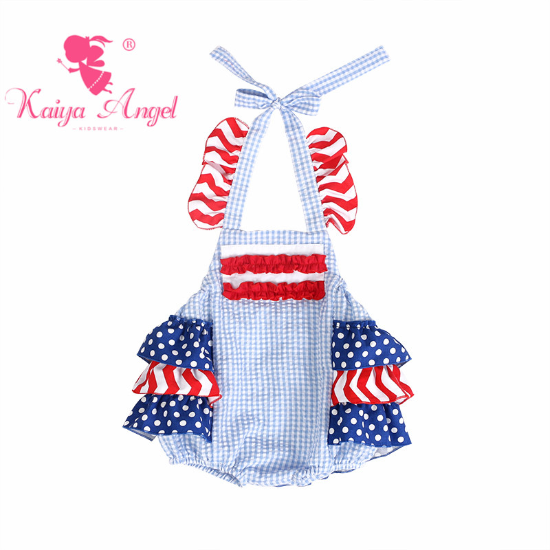 58be5148473c Kaiya Angel 4th Of July Dark Blue White Gingham Bubble Cloth Rompers Baby  Boy Girl Royal Blue White Spot Red Cotton Clothing-in Rompers from Mother    Kids ...