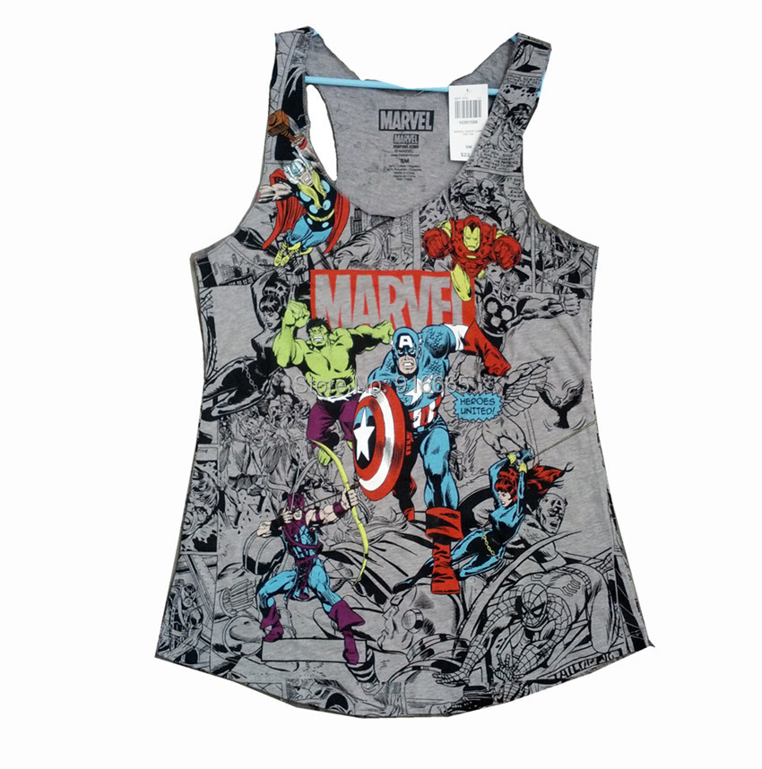 4c619e6442a Marvel vest XS XXXL Marvel comics women tank tops PLUS SIZE Avengers  Cartoon printed t shirt fashion vest hero-in Tank Tops from Women s Clothing  on ...