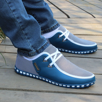 Outono Moda Apartamentos Respirável A azul Preto Masculinos De Cores Legal Casuais Novos Eo Primavera Lacing Homens azul Sapatos cinza Céu Misturadas Dos Couro ExOqAF