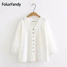 V-neck Women Blouse Plus Size 3XL 4XL White Shirts Loose Three Quarter Sleeve Shirt KKFY2362
