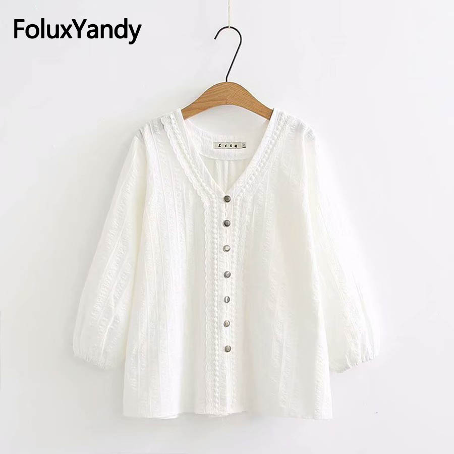 V-neck Women   Blouse   Plus Size 3XL 4XL White   Shirts   Loose Three Quarter Sleeve   Blouse     Shirt   KKFY2362