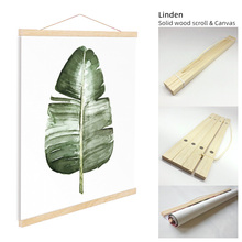 ART ZONE Green Leaves Nordic Art Scroll Painting Plant Minimalist Poster Child Bedroom Wall Solid Wood